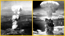 Atomic bomb mushroom clouds over Hiroshima (left) and Nagasaki (right)f_Japan 680x385G
